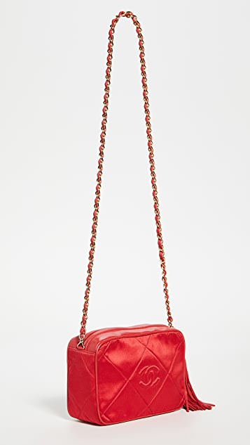What Goes Around Comes Around Chanel Red Satin Camera Bag