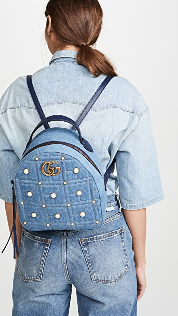 What Goes Around Comes Around Gucci Blue Denim GG Marmont 双肩包