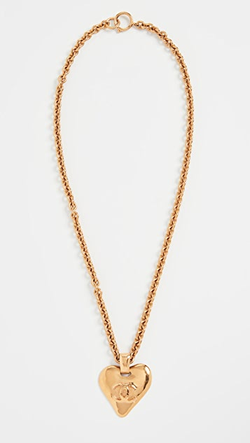 What Goes Around Comes Around Chanel Gold CC Heart Necklace