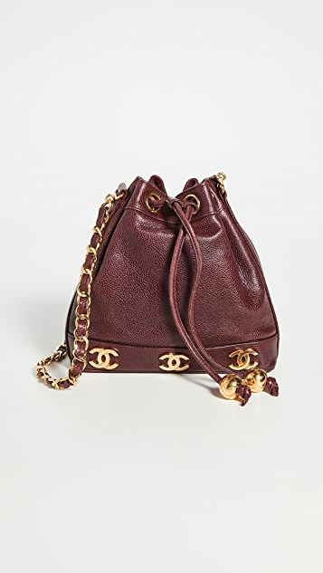 What Goes Around Comes Around Chanel Burgundy Bucket Bag