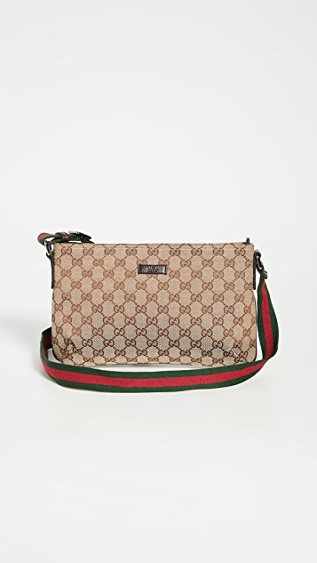 What Goes Around Comes Around Gucci 棕色帆布信使包