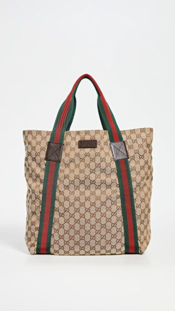 What Goes Around Comes Around Gucci Brown Canvas Tote Bag