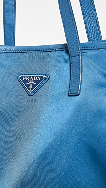 What Goes Around Comes Around Prada Blue Nylon Tote
