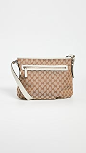 What Goes Around Comes Around Gucci White Canvas Shoulder Bag