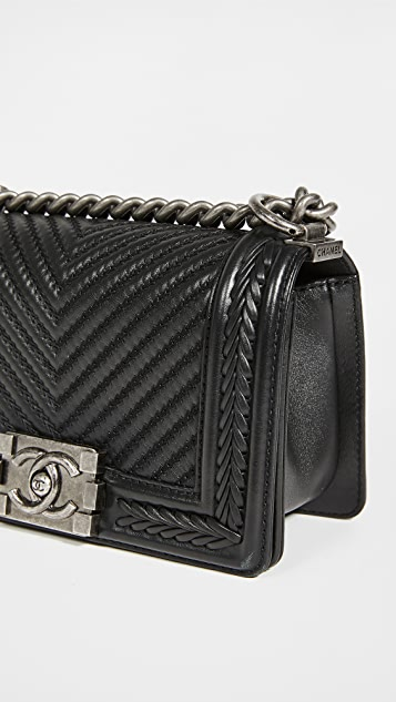 What Goes Around Comes Around Chanel Lambskin Chevron Small Boy Bag
