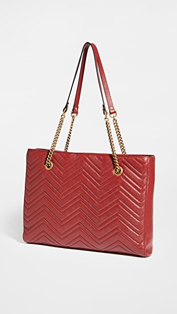 What Goes Around Comes Around Gucci Red Flat Chain Medium Tote