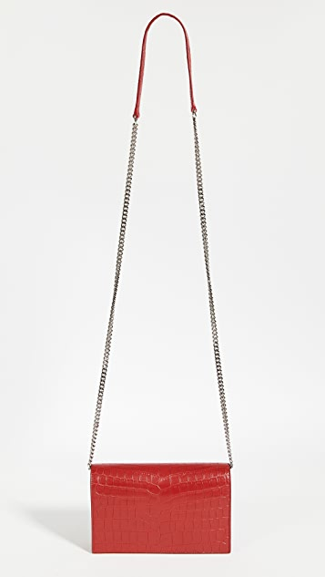 What Goes Around Comes Around YSL Red Embossed Kate Wallet on a Chain