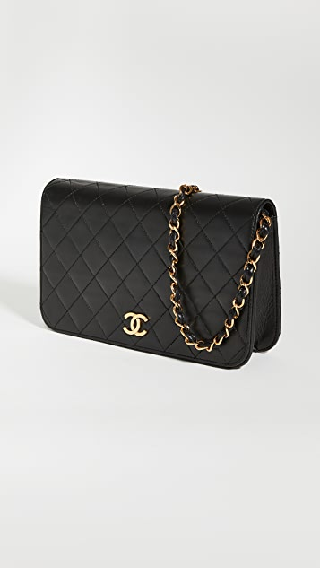 What Goes Around Comes Around Chanel Black Lambskin Full Flap Bag