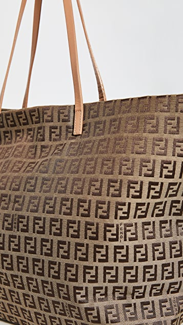 What Goes Around Comes Around Fendi Beige Zucchino Roll Bag