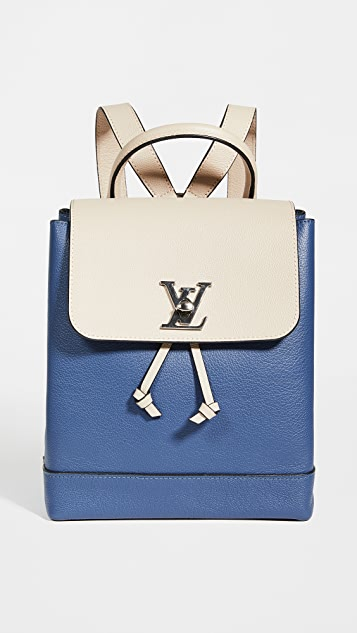 What Goes Around Comes Around LV Blue Leather Lock Me Backpack