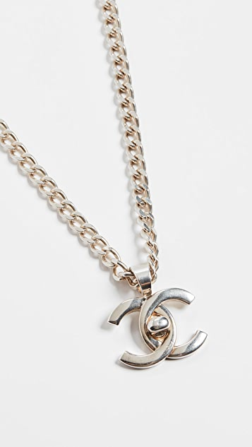 What Goes Around Comes Around Chanel Silver Turnlock Charm Necklace