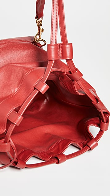 What Goes Around Comes Around Chanel Red Leather Bucket Bag