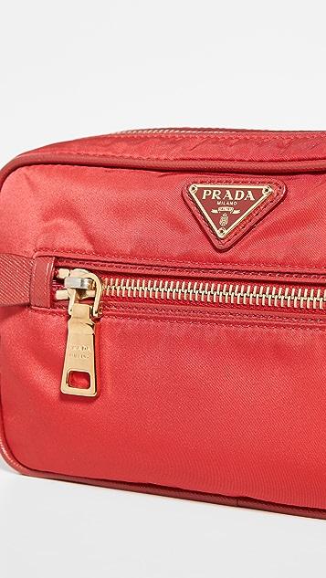What Goes Around Comes Around Prada Red Tessuto Shoulder Mini Bag