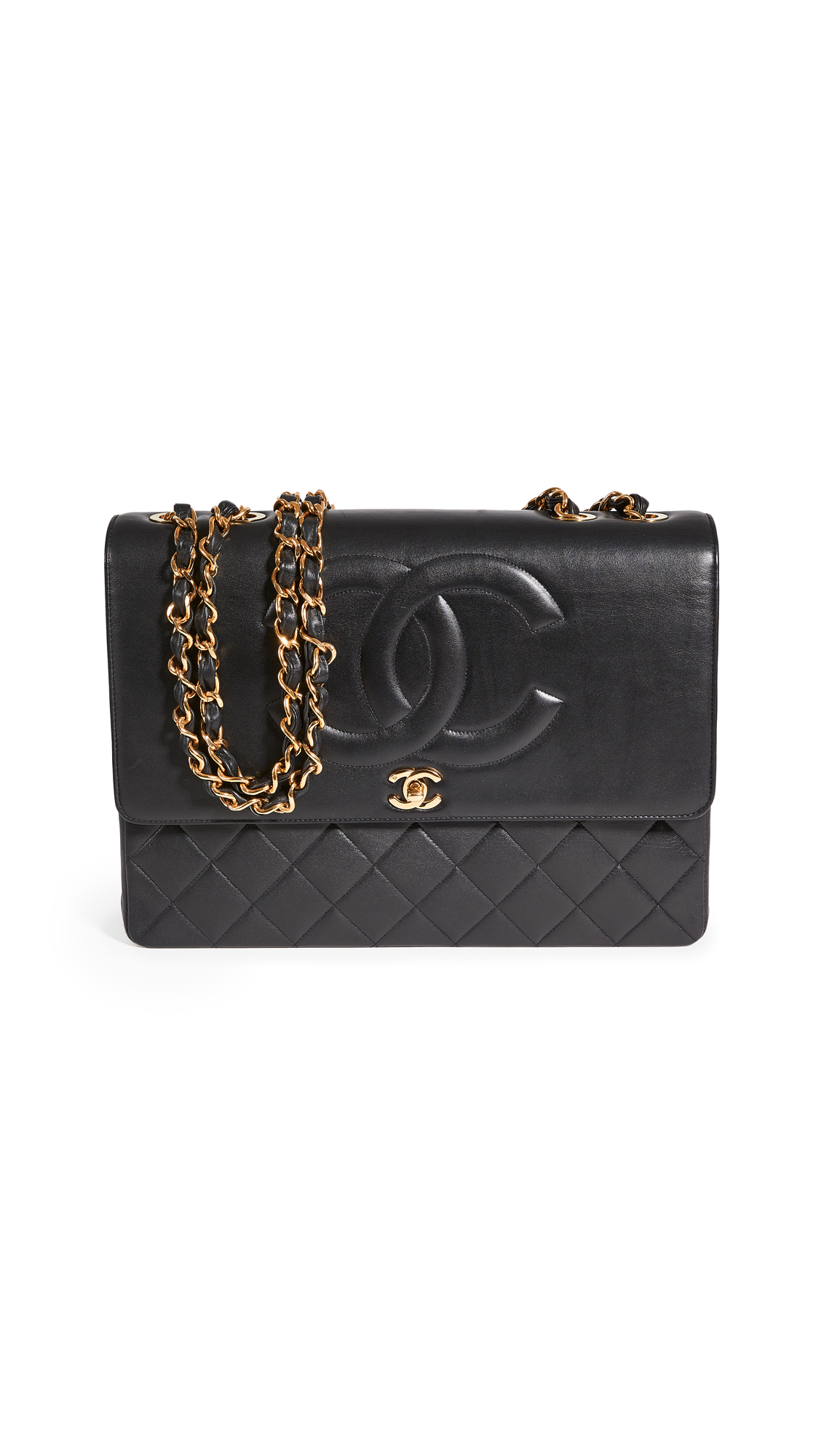What Goes Around Comes Around Chanel Black Lambskin CC Flap Maxi Bag