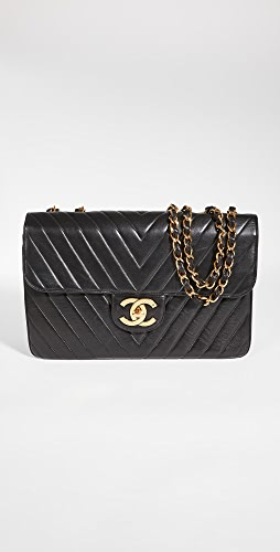What Goes Around Comes Around - Chanel Black Lambskin Chevron Flap Maxi Bag