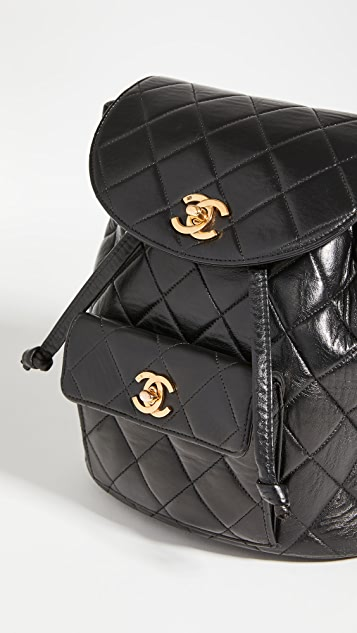 What Goes Around Comes Around Chanel Black Lambskin Classic Back Pack