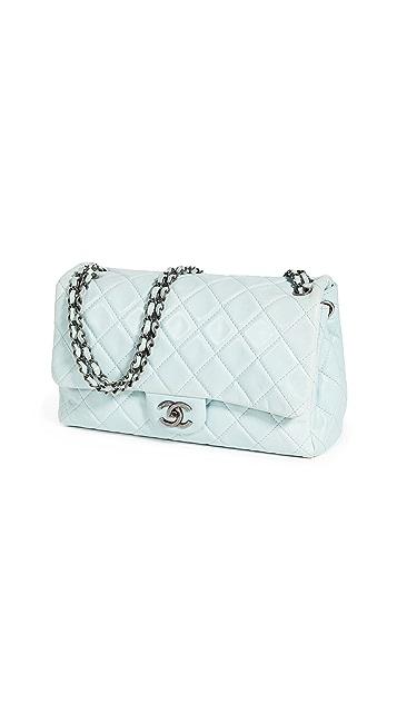 What Goes Around Comes Around Chanel Blue Calf Flap Bag Jumbo Bag