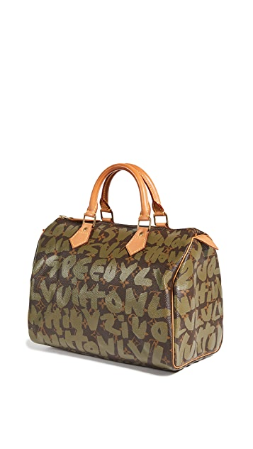 What Goes Around Comes Around LV Green Sprouse Ab Speedy 30 Bag