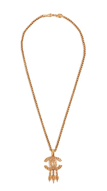 What Goes Around Comes Around Chanel Gold Dangle Necklace