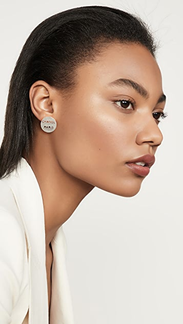 What Goes Around Comes Around Chanel Silver Button Earrings