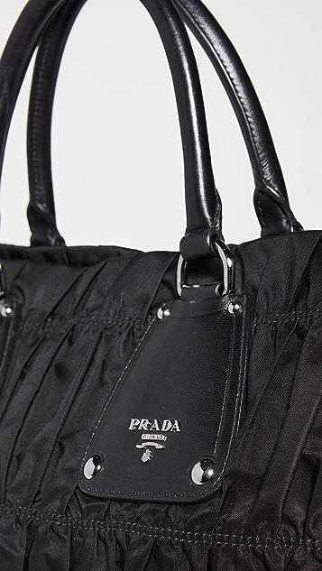 What Goes Around Comes Around Prada Black Nylon Large Handbag