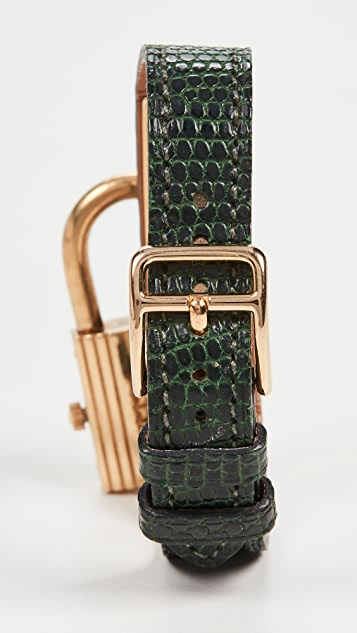 What Goes Around Comes Around Hermes Green Gold Kelly Watch