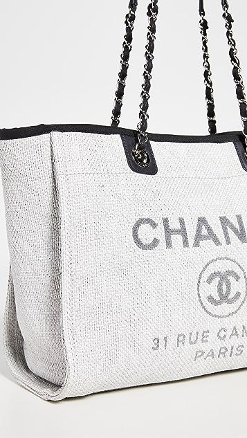 What Goes Around Comes Around Chanel Grey Raffia Deville Bag