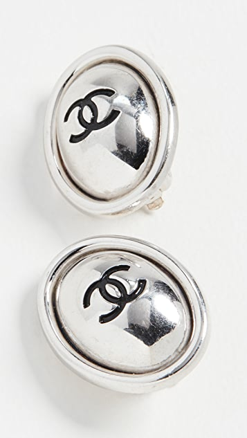 What Goes Around Comes Around Chanel 黑色和银色椭圆形耳环