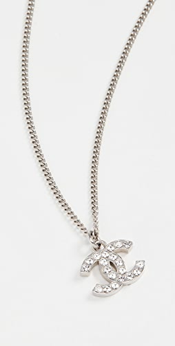 What Goes Around Comes Around - Chanel Silver Crystal CC Necklace Small
