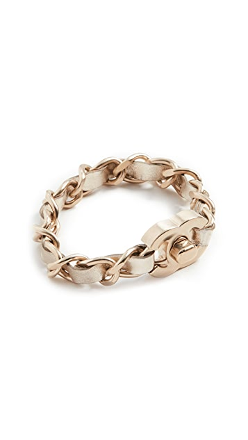 What Goes Around Comes Around Chanel Gold Turnlock Bracelet Medium