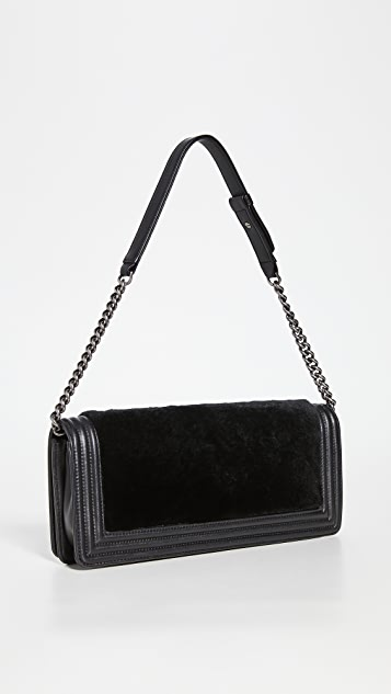 What Goes Around Comes Around Chanel Black Lapin Boy Clutch