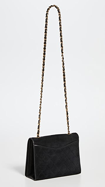 What Goes Around Comes Around Chanel Black Suede Pocket Flap Small Bag