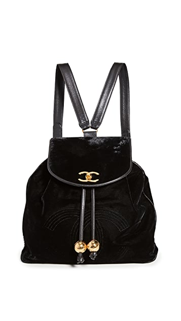 What Goes Around Comes Around Chanel Black Velvet Bucket Backpack