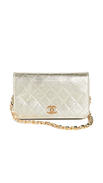 What Goes Around Comes Around Chanel Gold Lambskin Snap Full Flap Small Bag