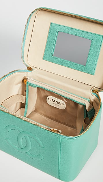 What Goes Around Comes Around Chanel Green Caviar Vanity  Case with Strap