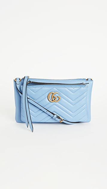 What Goes Around Comes Around Gucci Blue Leather GG Marmont Shoulder Bag