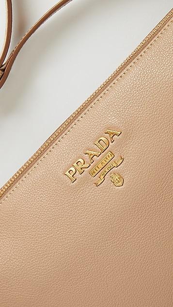 What Goes Around Comes Around Prada Beige Leather Shoulder