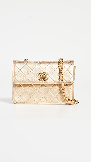 What Goes Around Comes Around Chanel Gold Lamb Half Flap Micro Bag