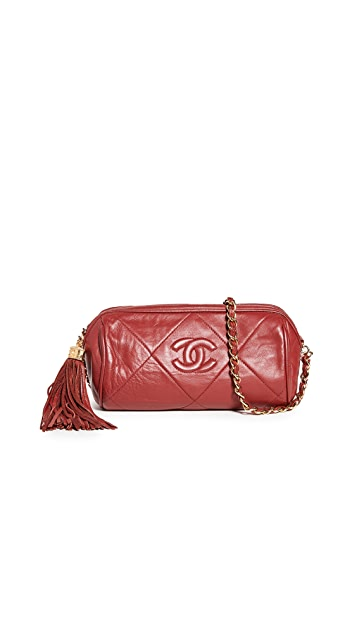 What Goes Around Comes Around Chanel Red Lamb Barrel Mini Bag