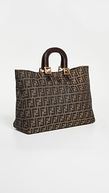 What Goes Around Comes Around Fendi Brown Zucca Tote Large