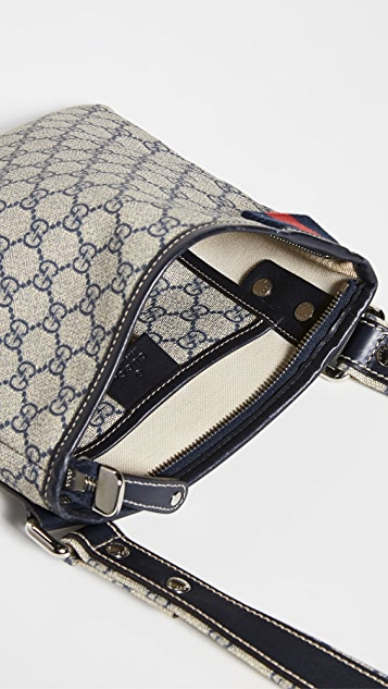 What Goes Around Comes Around Gucci Navy Coated Canvas Bag