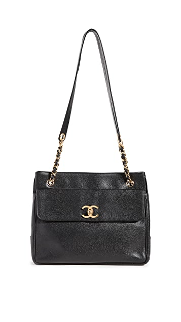 What Goes Around Comes Around Chanel Black Caviar Pocket Tote
