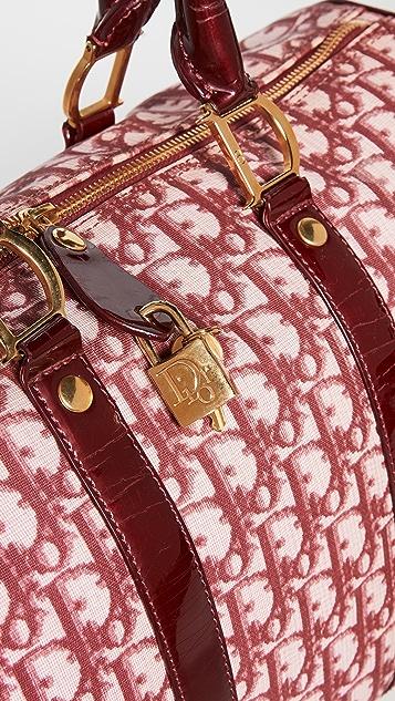 What Goes Around Comes Around Dior Burgundy Trotter Boston Bag