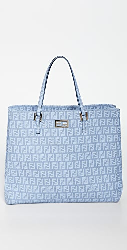 What Goes Around Comes Around - Fendi Blue Coated Canvas Tote