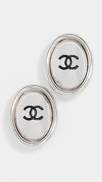 What Goes Around Comes Around Chanel 黑色 & 银色椭圆形耳环