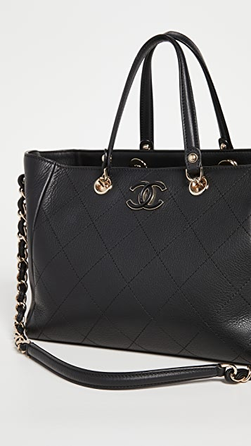 What Goes Around Comes Around Chanel Black Calf Shopping Bag
