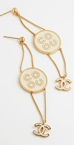 What Goes Around Comes Around - Chanel Gold Enamel Coco Earrings