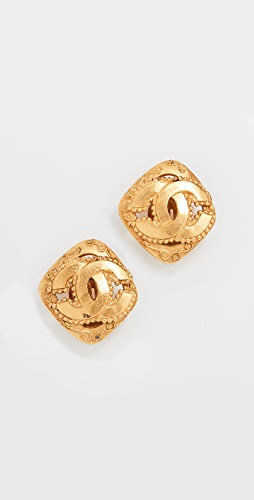 What Goes Around Comes Around - Chanel Gold Square Earrings