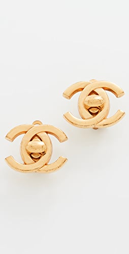 What Goes Around Comes Around - Chanel Gold Turn Lock Earrings