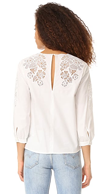 Whistles Beatrice Cutwork Top